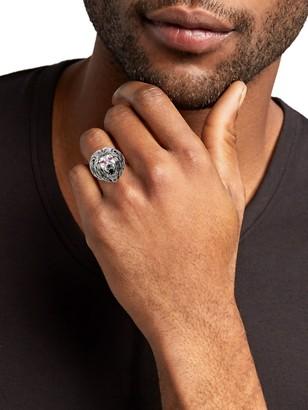 Effy 925 Sterling Silver Ruby & Onyx Lion Ring