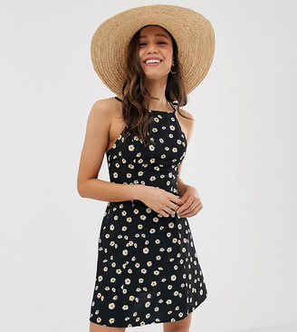 Asos Tall DESIGN Tall High neck low back mini sundress in daisy print-Multi