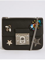 M&S Collection Faux Leather Embellished Across Body Bag