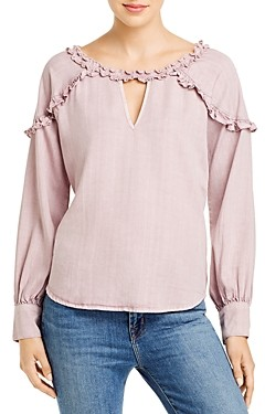 BILLY T Ruffled Keyhole Top
