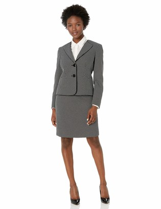 Le Suit LeSuit Women's GEO Plaid 2 Button Wing Collar Skirt Suit