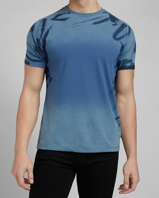 Express Blue Faded Marble Sleeve Graphic T-Shirt