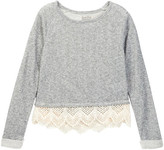 Lucky Brand Lurex Terry Popover with Lace Pullover (Big Girls)