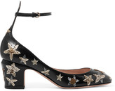Valentino Tango Embellished Leather Pumps - Black