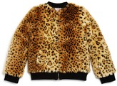 Design History Girls' Cheetah Faux Fur Bomber Jacket