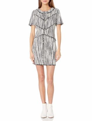 Ali & Jay Women's Tweed and Fringe Short Sleeve Shift Dress with Pockets