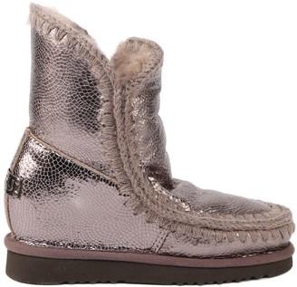 Mou Eskimo Ineer Wedge Boots In Metallic Sheepskin