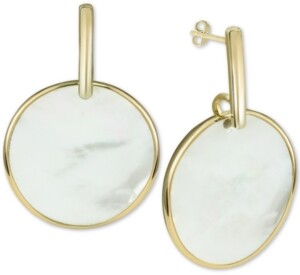 Argentovivo Mother-of-Pearl Disc Drop Earrings in Gold-Plated Sterling Silver