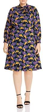 Adrianna Papell Plus Leafy Hearts Mock-Neck Dress
