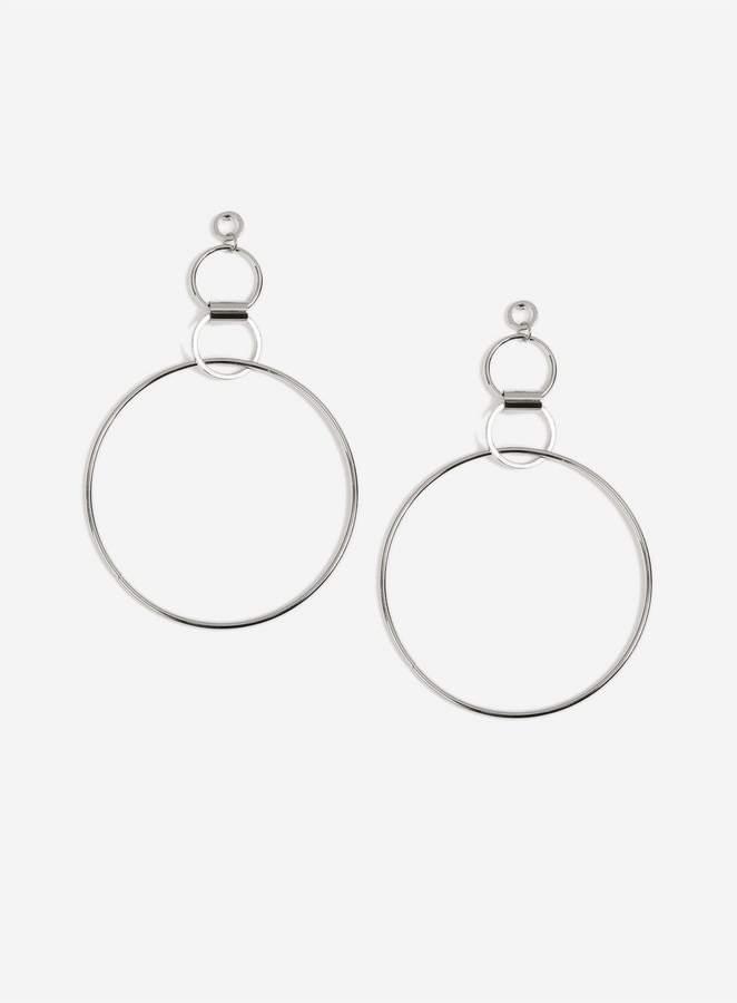 Miss Selfridge Silver Large Link Drop Hoop Earrings