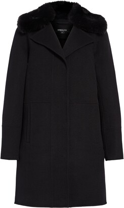 Kenneth Cole New York Double Face Wool Blend Coat with Removable Faux Fur Collar