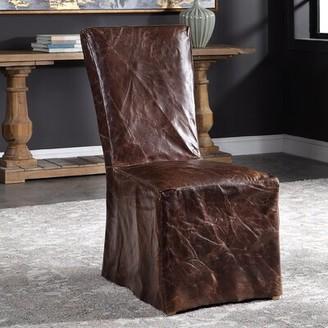 Loon Peakâ® Claudette Leather Upholstered Parsons Chair in Cinnamon Brown Loon PeakA
