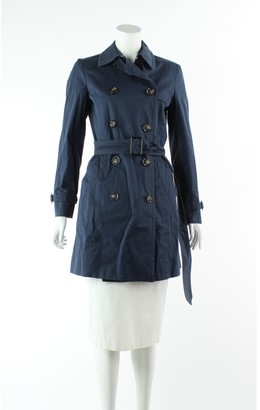 Max Mara Navy Cotton Trench Coat for Women