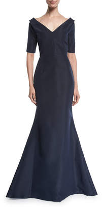 Carolina Herrera 1/2-Sleeve Off-The-Should Faille Mermaid Gown