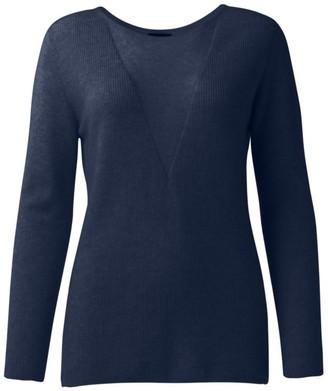 Akris Sheer V-Neck Insert Cashmere-Blend Pullover Sweater