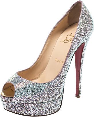 Christian Louboutin Silver Crystal Embellished Lady Peep Toe Platform Pumps Size 38