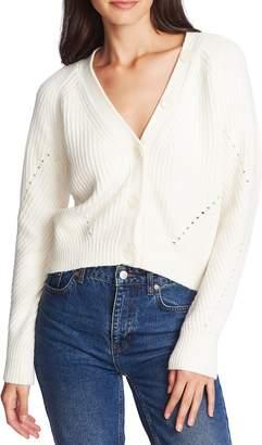 1 STATE 1.STATE Shaker Stitch Crop Cotton Blend Cardigan