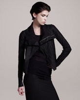Drape-Neck Leather Jacket