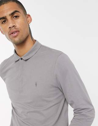 AllSaints long sleeve polo with ramskull in grey