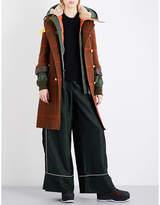 Sacai Contrast-underlay double-breasted tweed coat