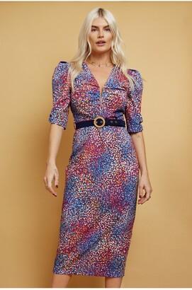 Little Mistress Nicoleta Plunge Neck Half Length Sleeve Multi Spot-Print Belted Midi Pencil Dress