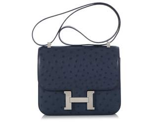 Hermes Constance Blue Ostrich Handbags