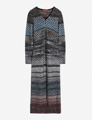 Missoni V-neck stretch-knit maxi dress
