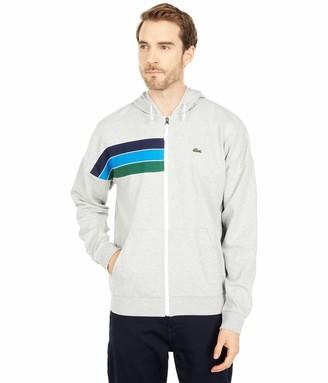 Lacoste Men's Rainbow Striped Full Zip Hooded Sweatshirt