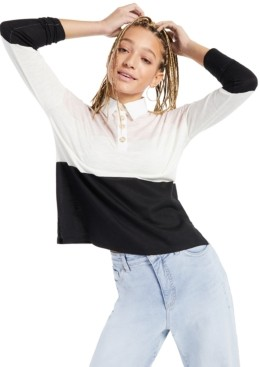 Style&Co. Style & Co Petite Colorblocked Rugby Top, Created for Macy's