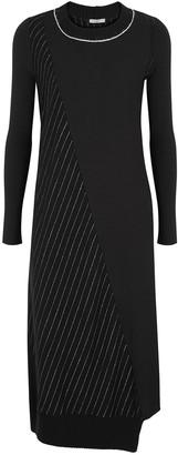 Crea Concept Black pinstriped wool-blend midi dress