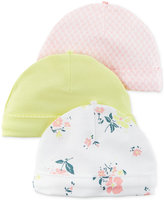 Carter's Baby Girls' 3-Pack Little Blooms Beanie Caps