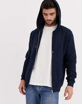 Asos Design DESIGN lightweight zip up hoodie in navy