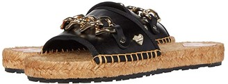 Love Moschino Rope Sole Chain Flat Sandal (Black) Women's Shoes