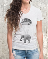 Etsy Elephant in Parachute - Women's American Apparel T-Shirt