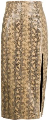 16Arlington Snakeskin-Print Leather Pencil Skirt
