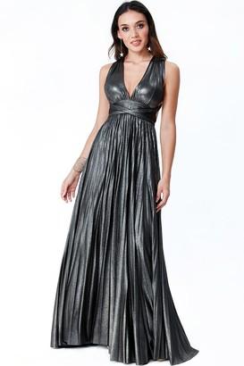 Goddiva Black Deep V Neck Metallic Maxi Dress