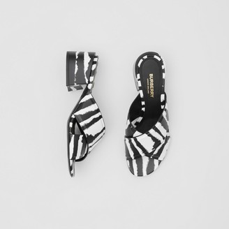 Burberry Watercolour Print Leather Block-heel Sandals