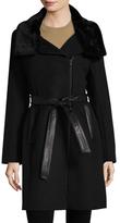 Soia & Kyo Elma Belted Faux Fur Wool Coat