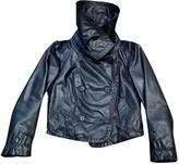 Donna Karan Blue Leather Jacket for Women