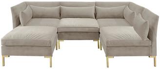 One Kings Lane Marceau U-Shaped Sectional - Light Gray Velvet - frame, brass; upholstery, light gray