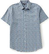 Murano Short-Sleeve Point Collar Floral Print Shirt