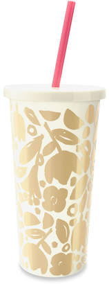 Kate Spade Golden Floral Tumbler With Straw