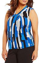 Calvin Klein Plus Knotted V-Neck Sleeveless Matte Jersey Shell