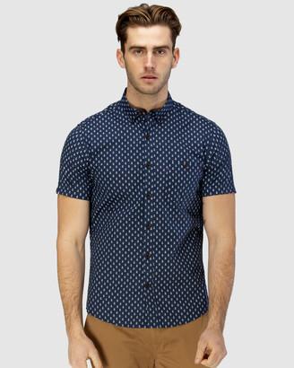 Brooksfield Train Print Short Sleeve Casual Shirt