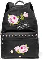 Dolce & Gabbana Vulcano Studded Appliquéd Shell Backpack - Black