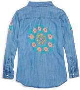 Rails Girls' Batista Embroidery Chambray Button-Down Shirt - Little Kid, Big Kid
