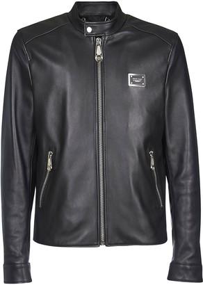 Philipp Plein Leather Zipped Detail Jacket