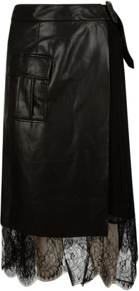 Self-Portrait Faux Leather Midi Wrap Skirt