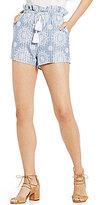 Blu Pepper Soft Printed Tassel Tie-Front Shorts