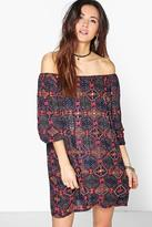 Boohoo Boutique Ana Mirror Detail Off Shoulder Dress